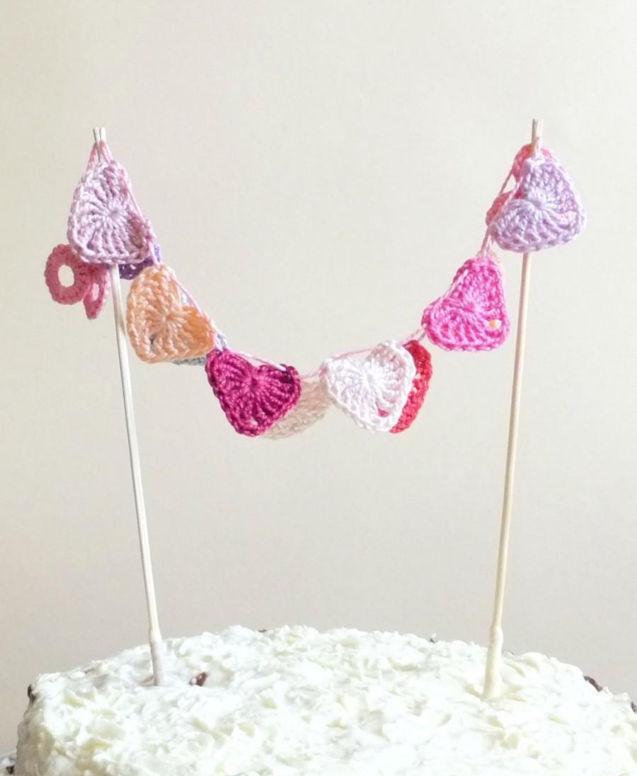 Pink Hearts Cake Topper - Crochet Hearts Decor - Small Hearts ...
