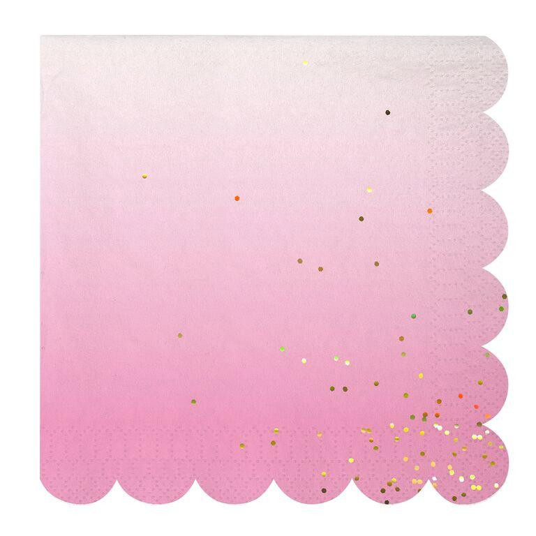 Mariage - Ombre Paper Napkins / Cocktail Napkins, Meri Meri / Pink and Gold / Wedding Celebration / Baby Shower / Party Decor / Birthday Party / Gold