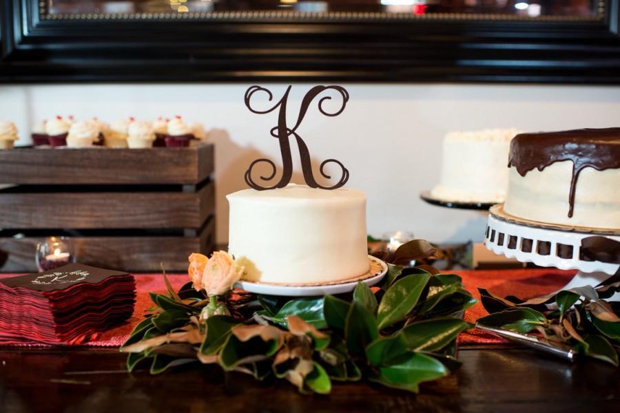 "Mariage - Wedding Cake Topper, Initial Wedding Cake Topper, Cake Topper, Single Initial, Script Initial Cake Topper, Script 5"" Topper - PAINTED"
