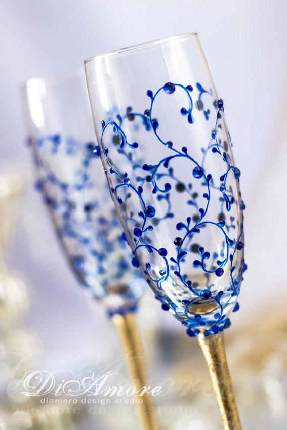 Royal Blue And Gold Wedding Champagne Glasses From The