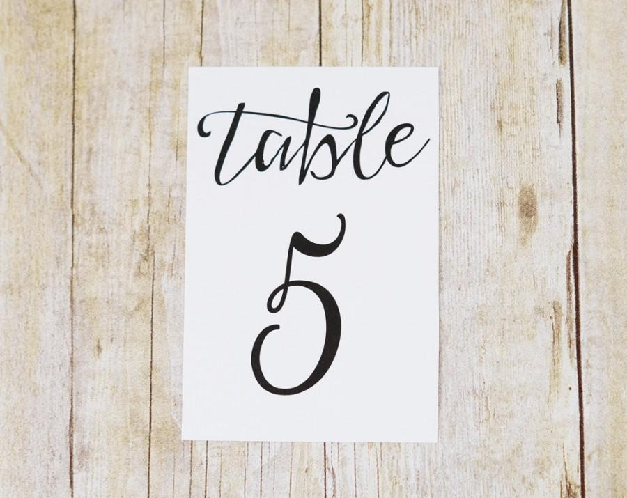 Mariage - 4x6 Table Number Cards - Printed Modern Script Wedding Table Numbers - Sign to Display in Picture Frame or Stands - Text Color Choice