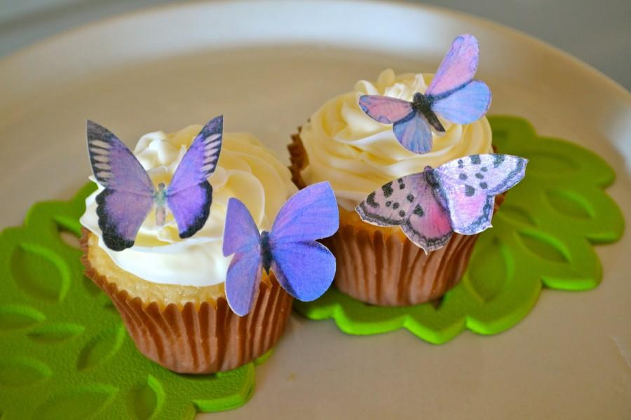 Butterfly Edible Cake Images : Wedding Cake Topper Small Assorted Purple Edible ...