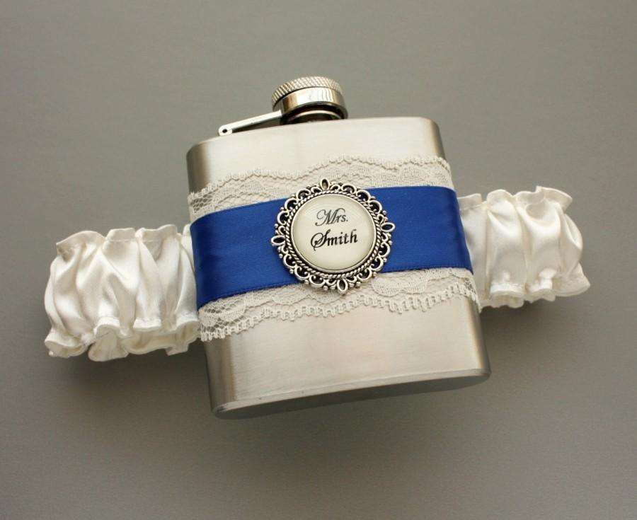 Свадьба - FLASK GARTER - Something Blue Wedding Garter with Personalized Flask - Ivory & Royal Blue (Custom Colors Too) - Bridal or Engagement Gift