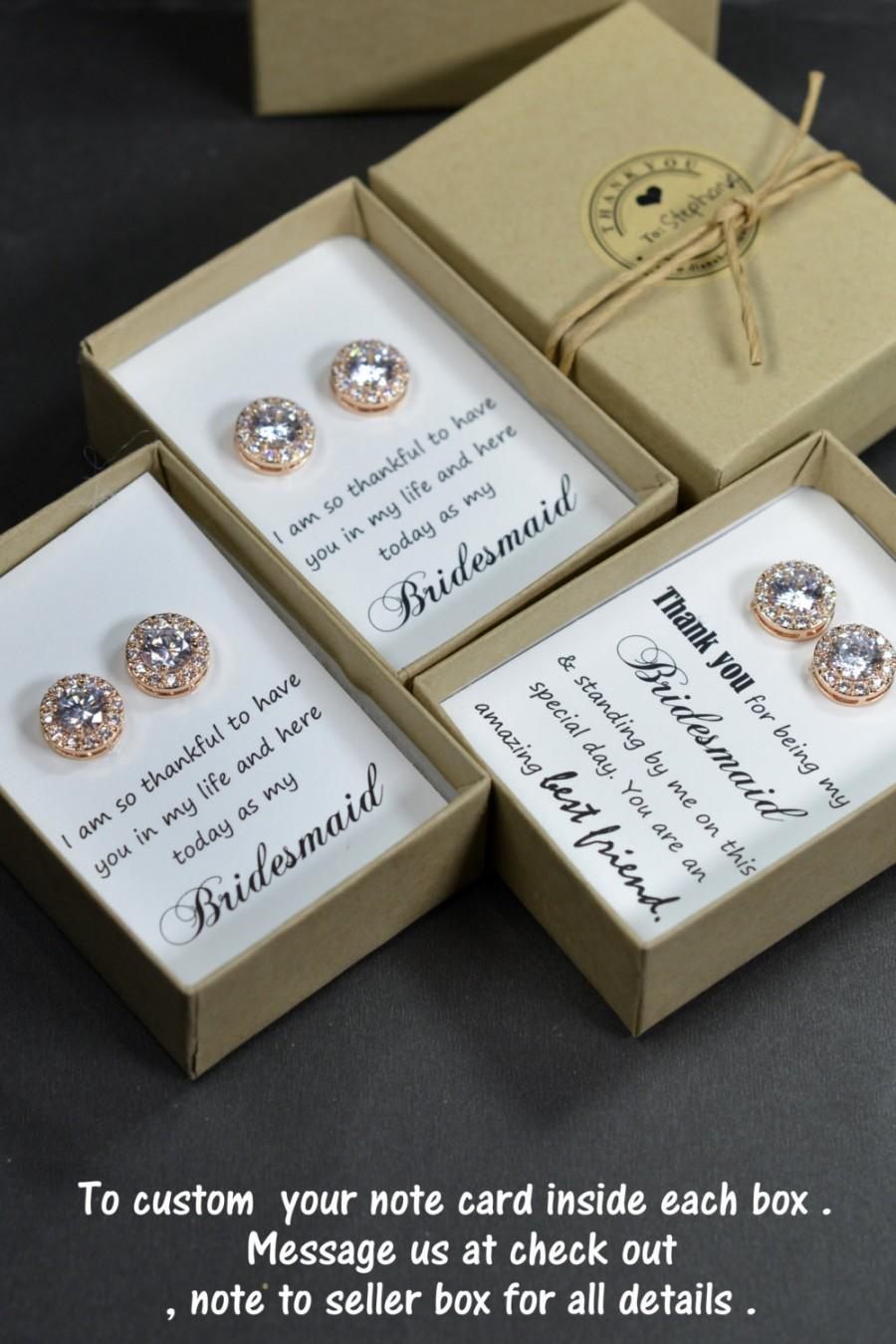 Mariage - Rose gold,Bridesmaids Earrings,Personalized Bridesmaids Gift,Crystal Stud Earrings,Bridesmaids Gifts,Spring Wedding ,be my bridesmaid card