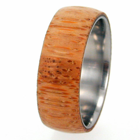 Mariage - Titanium Ring with Eco-Friendly Bamboo Wood Overlay, Ring Armor Included