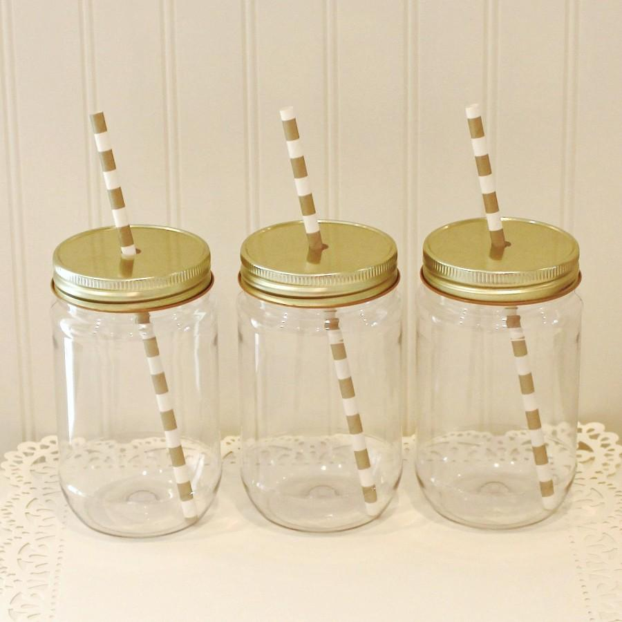 Свадьба - Plastic Mason Jars, 10 Plastic Mason Jars & Metal Lid with Straw Hole, Mason Jar Cups, Plastic Lemonade Jar, Kids Plastic Cup, Tumbler 17 Oz