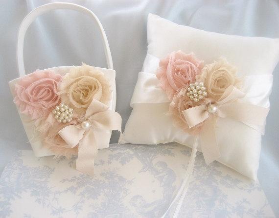 Свадьба - Flower Girl Basket, Flower Girl Basket -  Blush Rose Blossom Ivory Ring Bearer Pillow, Flower Girl Basket Wedding Pillow
