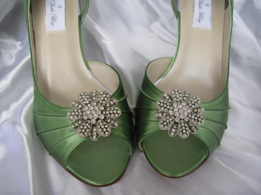 Свадьба - Wedding Shoes Apple Green Wedding Shoes with Vintage Style Rhinestone Flower - Additional 100 Colors To Pick From