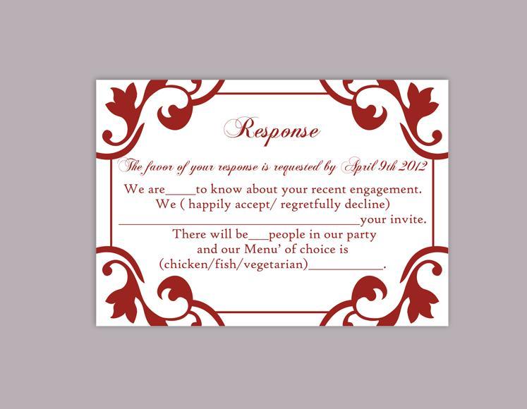 Hochzeit - DIY Wedding RSVP Template Editable Word File Instant Download Rsvp Template Printable RSVP Cards Wine Red Rsvp Card Elegant Rsvp Card