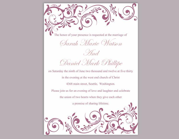Wedding - DIY Wedding Invitation Template Editable Word File Instant Download Printable Invitation Purple Wedding Invitation Eggplant Invitations