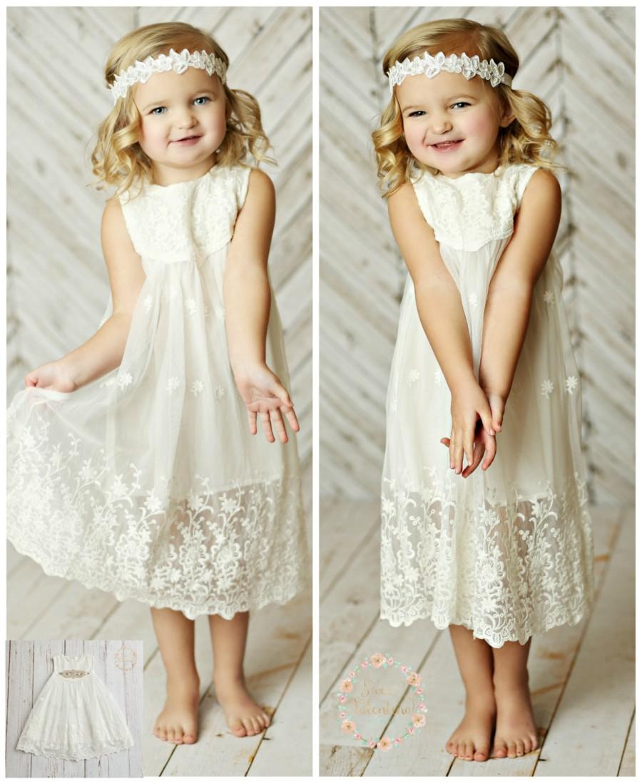 White Lace Flower Girl Dress, Girls Lace Dress, Beach Flower Girl ...
