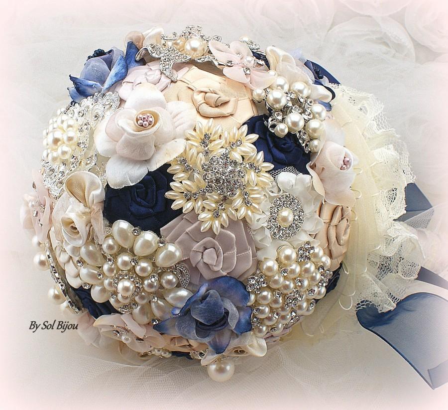 Brooch Bouquet Navy Blue Blush Gold Ivory Elegant Wedding