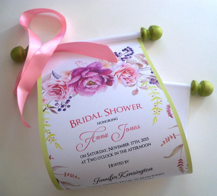 Wedding - Pink blush roses bridal shower invitations, spring bridal shower, floral shower invitation, romantic wedding invitation scroll, set of 10