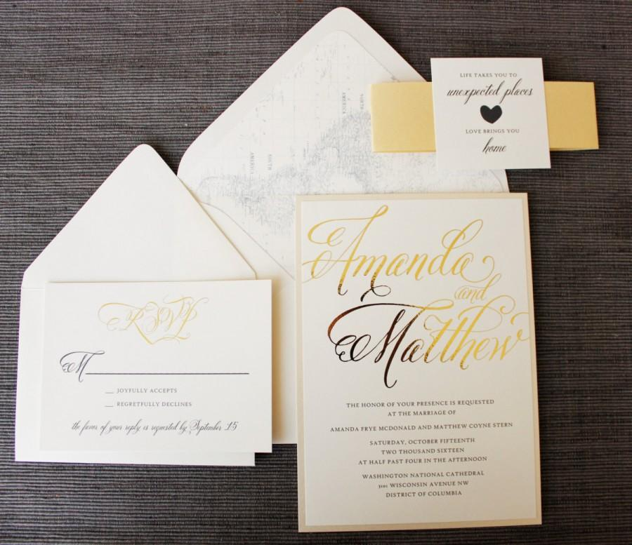 Love Brings You Home Wedding Invitation Map Travel Theme Gold Foil Neutrals Elegant