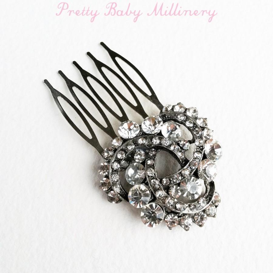 Mariage - Art Deco headpiece, Bridal Hair Comb, black bridal, gunmetal, black Rhinestone comb hair accessories, wedding accessory small crystal KNOT
