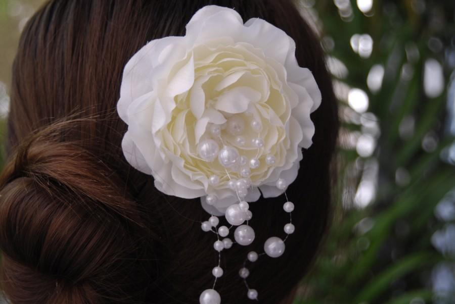 Mariage - Ivory Bridal Fflower Clip - Wedding Hair Flower Clip - Wedding Accessory-Pearls