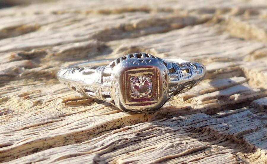 Wedding - Vintage Antique .08ct Old European Cut Diamond Unique Engagement Ring 1920's Art Deco 18k White Gold Filigree