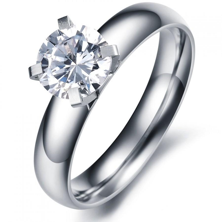 set round iobi engagement feshionn cz products in solitaire rings ring stainless contemporary steel cathedral