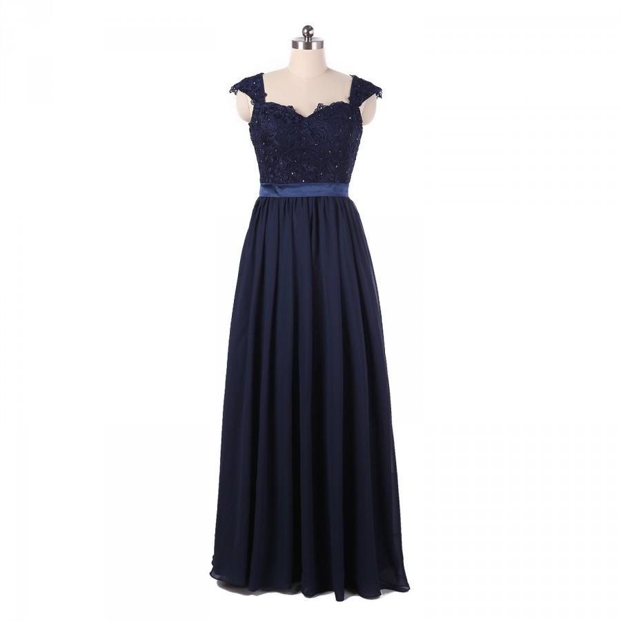 Mariage - Dark navy long lace bridesmaid dress with cap sleeves a-line chiffon dress open back Grey/silver prom dress