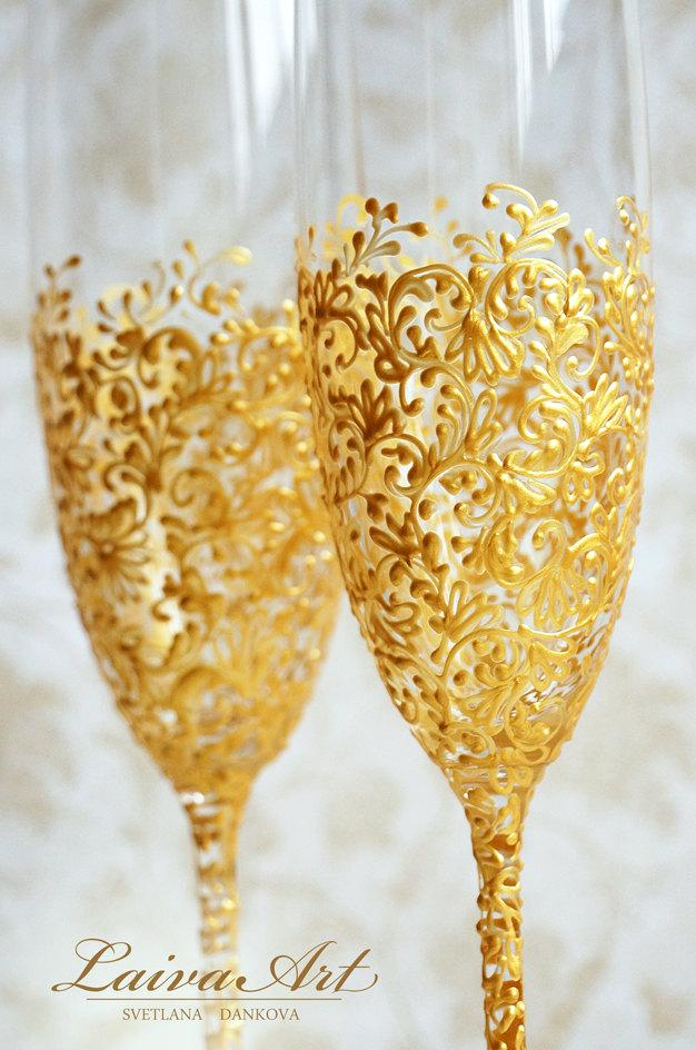 Gold Wedding Champagne Flutes Glasses