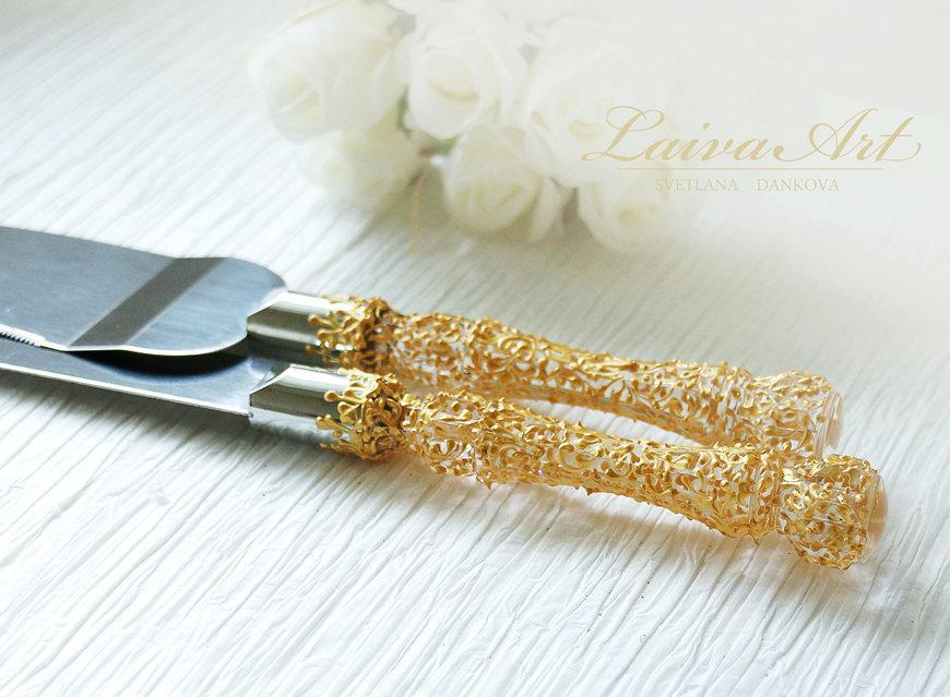 Gold Wedding Cake Server Set Knife
