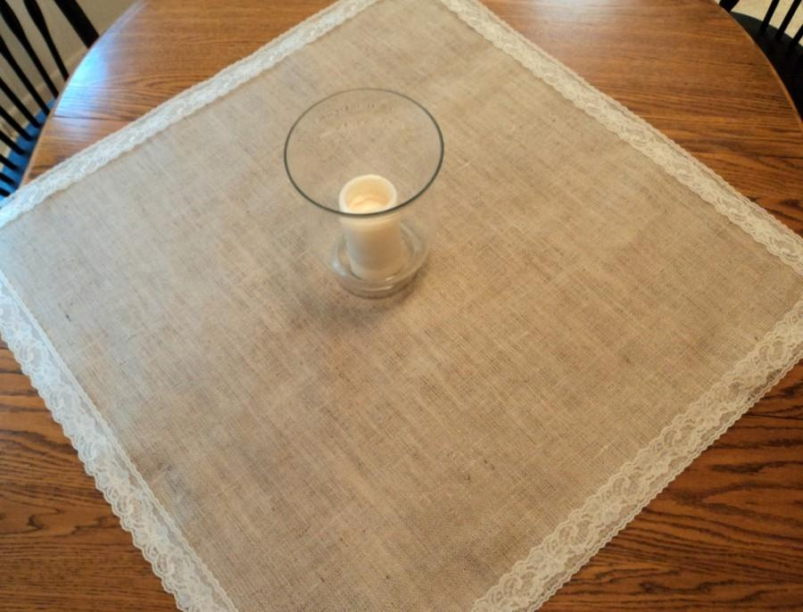 Choose Your Size Square Burlap And Lace Table Overlays Wedding Centerpiece Decor Toppers