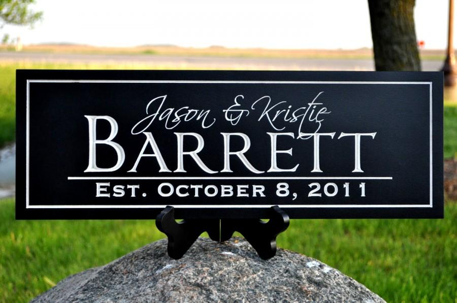 Mariage - Last Name Sign Personalized Established Plaque Carved Engraved 7x20 FN