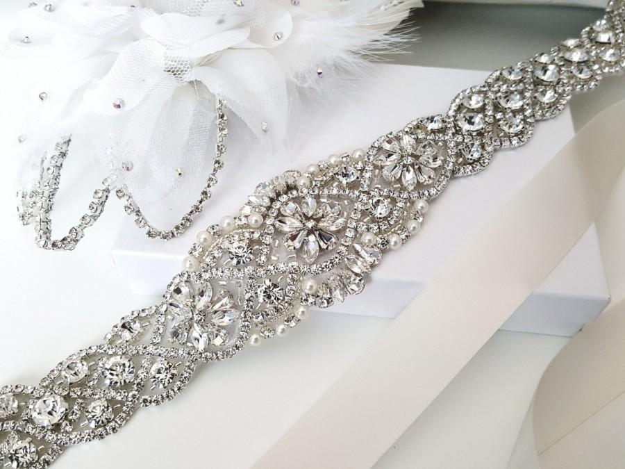 Wedding - Beaded bridal sash crystal wedding belt sash, Style 159