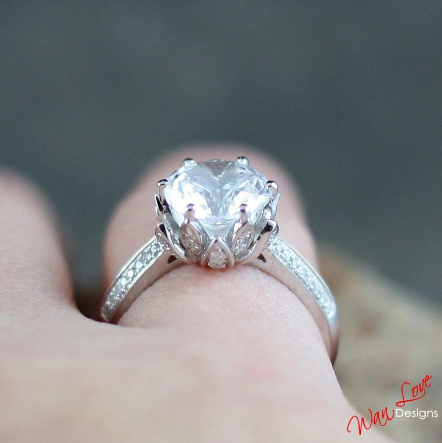 Moissanite Lotus Flower Diamond Engagement Ring 2 Ct 8 Mm 14k 18k White  Yellow Rose Goldplatinumcustom Madeweddinganniversaryround Cut