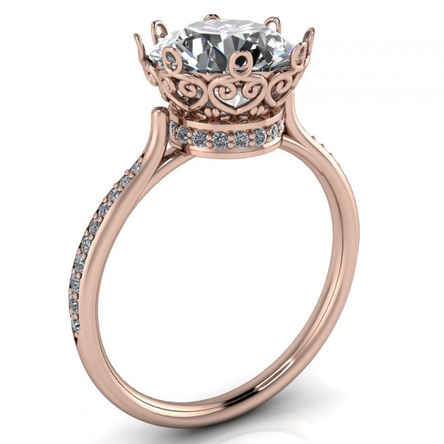 Mariage - Victoria Charles & Colvard Forever Brilliant Moissanite Bezel Filigree Heart Crown Diamond Neck Channel Set Ring