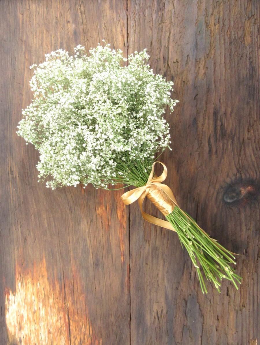 Wedding - Simple Dried Baby's Breath Bouquet - Bridesmaid Bouquet - Baby's Breath