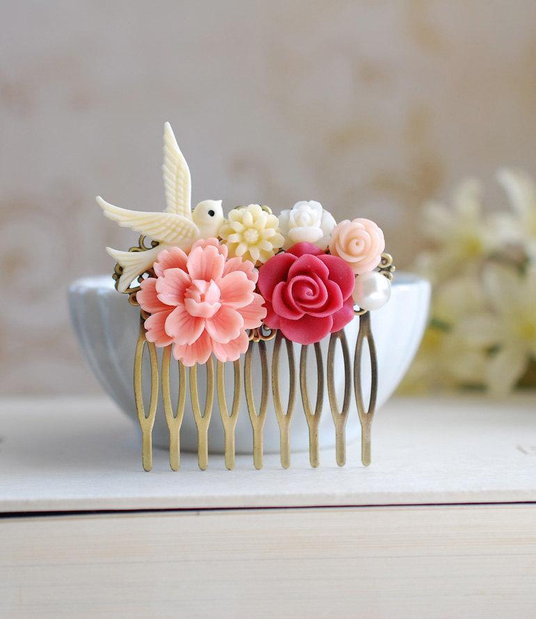 Mariage - Ivory Bird Peach Pink Chrysanthemum Red Rose Flower Collage Hair Comb. Peach Wedding Bridal Flower Hair Comb, Flower Girl Bridesmaid Comb