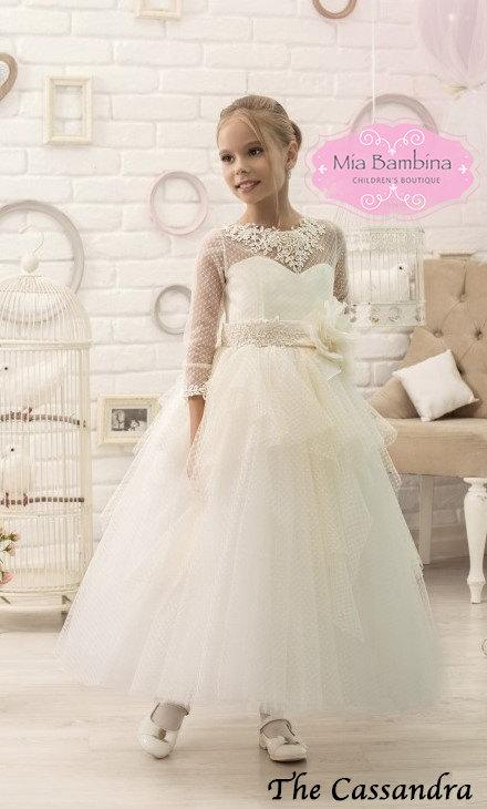 Wedding - Ivory Cream Flower Girl Dress with sleeves First Communion Dress