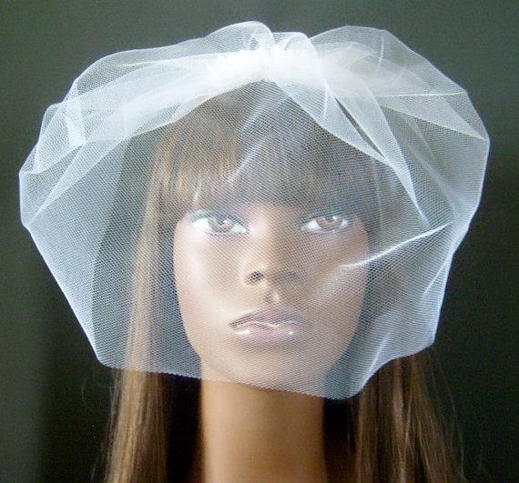 Hochzeit - Glam White Tulle Birdcage Veil $20