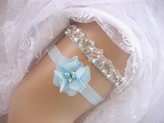 Свадьба - Wedding Garter  Aqua  Blue Garter  Rhinestone Garter / Crystal Garter / Toss Garter / Garter Belt / Garder