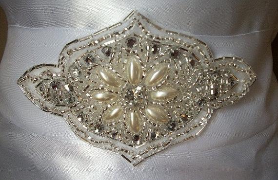 Mariage - Pearl and Crystal Bridal Sash With White Ribbon $20