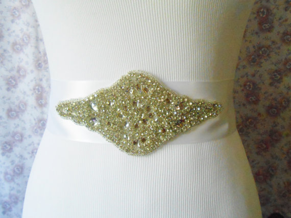 Wedding - Crystal Bridal Sash With White Ribbon $50