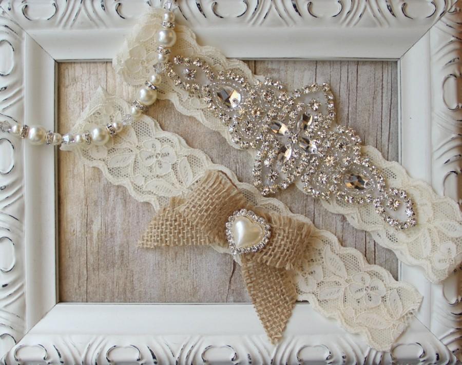 Mariage - Customizable Garter w/Toss - Ivory Wedding Garter Set, Rustic Garter Set, Lace Bridal Garter, Rustic Wedding Garter Set, Rustic Wedding
