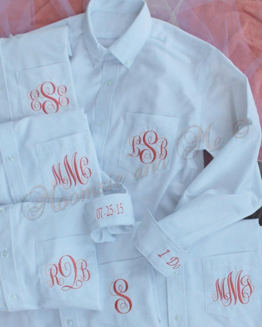 1b2e255522a Monogram Bride Shirt Set of 6-Personalized Oxford-Bridesmaid Buttondown- Bridal Oxford Shirts-Monogram Bridal Shirt-Boyfriend Shirt