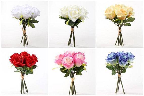 Hochzeit - 10 Pc. Custom Rose Bouquet Set, Bride's Bouquet, Maid of Honor Bouquet, 3 Bridesmaids Bouquets, 5 Boutonnieres 6 colors to choose from