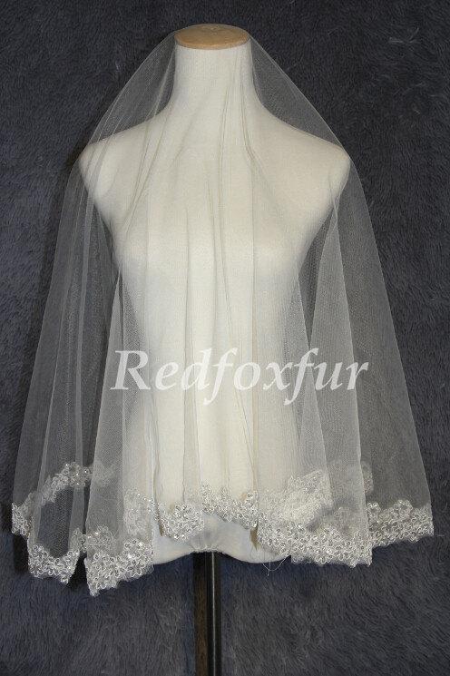 Hochzeit - A layer elbow length bridal veil, Alencon lace bridal veil, lace sequined veil