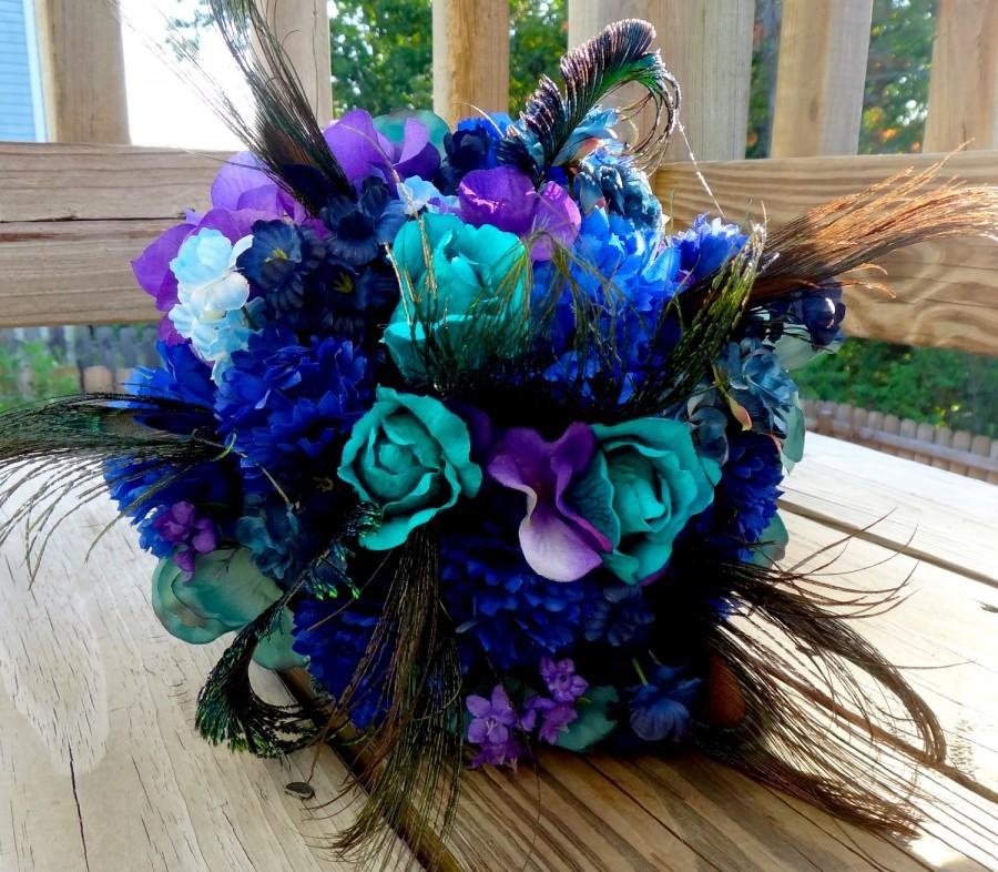Свадьба - Peacock bridal bouquet, teal, purple, blue bridal bouquet with peacock feather accent