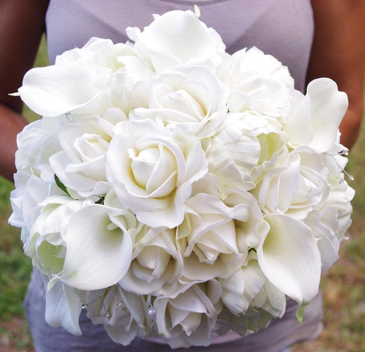 Mariage - Bouquet of Silk Peonies, Callas and Roses Off White Natural Touch Flower Wedding Bride Bouquet - Almost Fresh