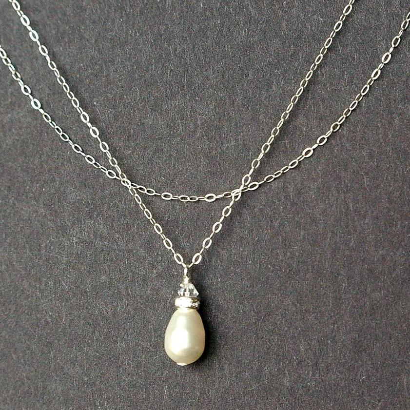 Swarovski Pearl Bridal Necklace Sterling Silver Wedding Necklace