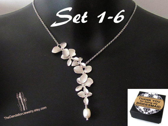 Mariage - Bridesmaid Gift Necklace Wedding Necklace Jewelry Weddings Bridal Jewelry Bridal Necklace Wedding Jewelry Message Card