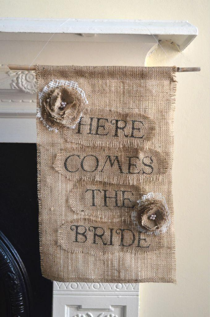 Hochzeit - Here Comes The Bride Sign, Wedding Banner, Here Comes the Bride Banner, Burlap Wedding, Wedding Sign, Ring Bearer, Flower Girl
