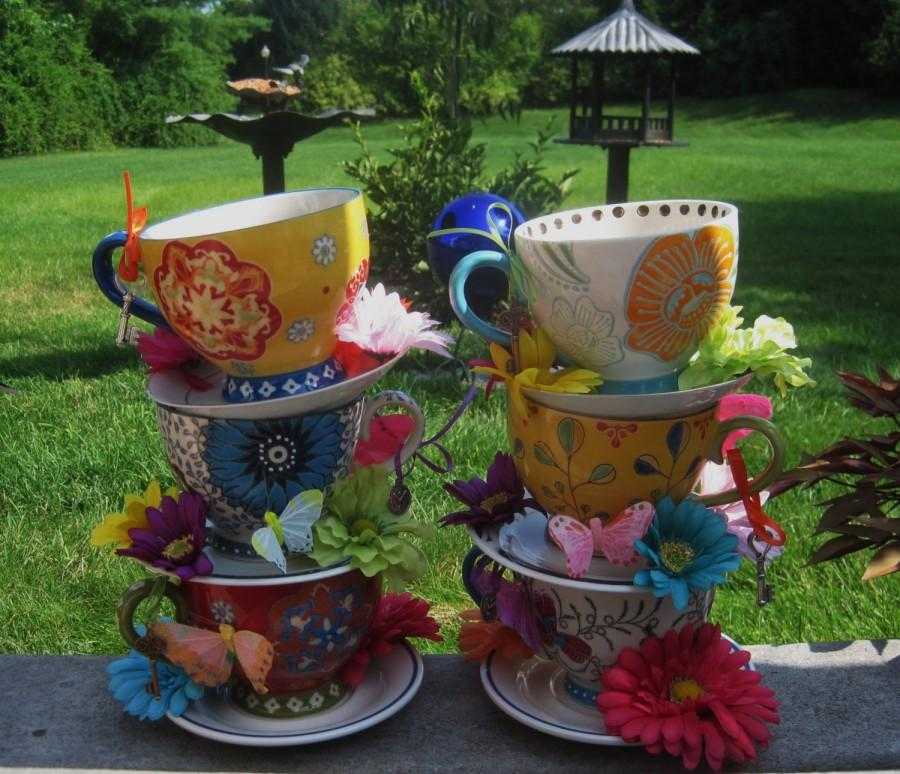 Pair Of Two Handpainted Stacked Teacup Centerpieces