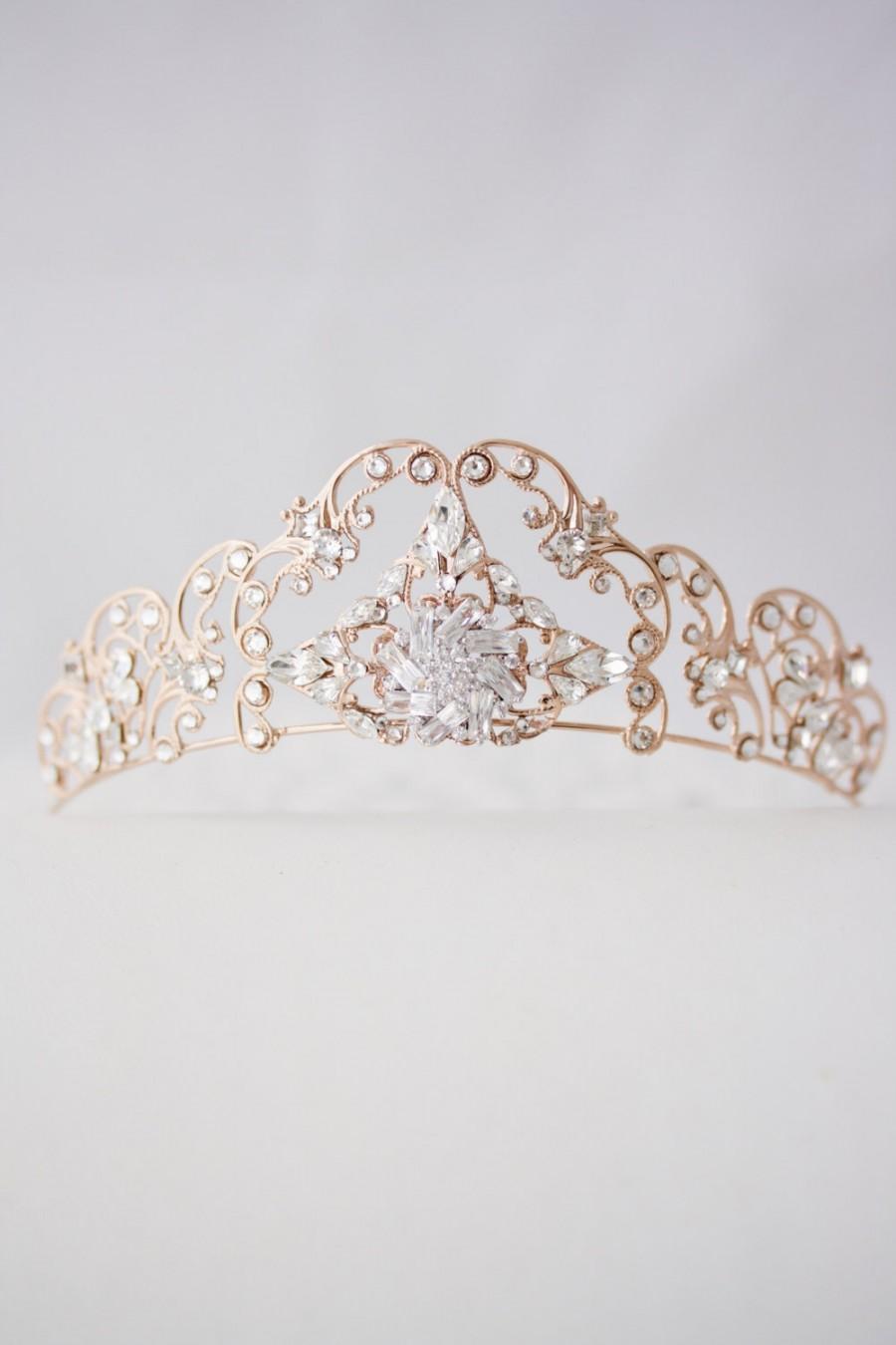 Rose Gold Tiara Crystal Wedding Tiara Filigree Bridal Crown Art Deco