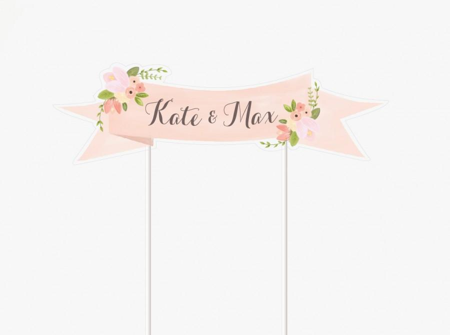 Floral Wedding Cake Topper Printable Customized With Names Mini