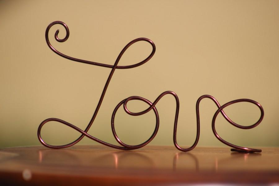 Wedding - Brown Wire Love Cake Toppers - Decoration - Beach wedding - Bridal Shower - Bride and Groom - Rustic Country Chic Wedding